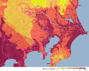 30年以内に震度6弱以上の揺れに見舞われる確率の分布図